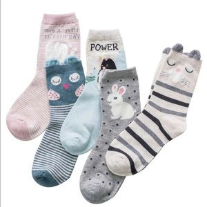 Cartoon pattern socks (5pc) 11 inch - new